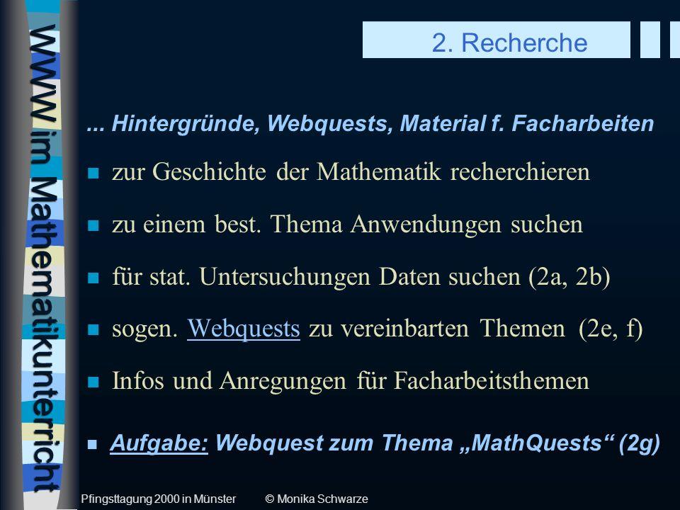 WWW im Mathematikunterricht Pfingsttagung 2000 in Münster © Monika Schwarze 2.
