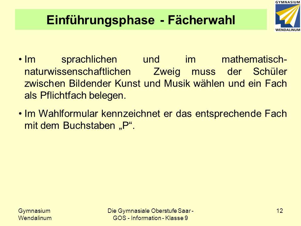 Gymnasium Wendalinum Die Gymnasiale Oberstufe Saar - GOS - Information - Klasse 9 13 Einführungsphase - Fächerwahl