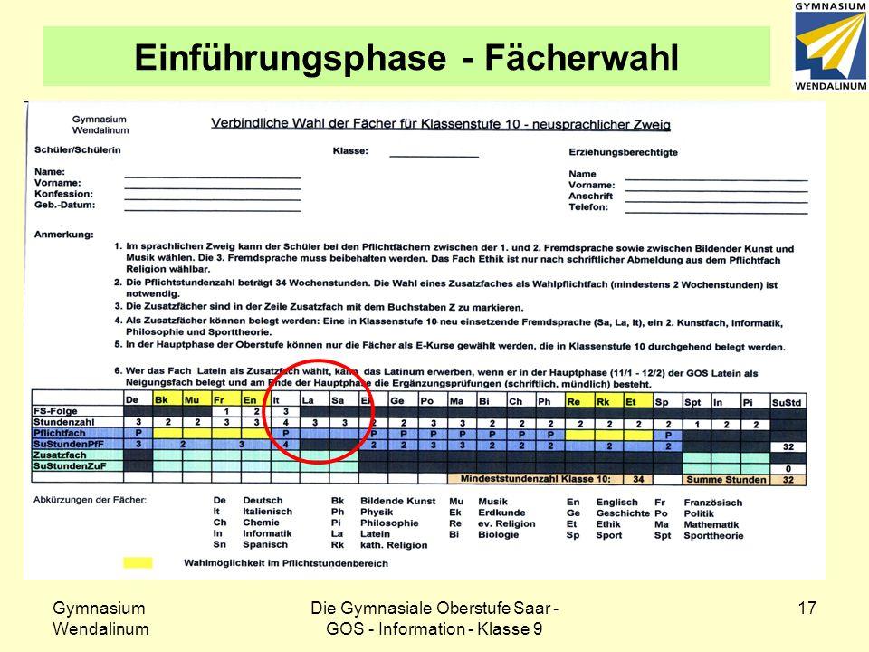 Gymnasium Wendalinum Die Gymnasiale Oberstufe Saar - GOS - Information - Klasse 9 18 Einführungsphase - Fächerwahl Die Pflichtstundenzahl in der Einführungsphase beträgt 34 Stunden.