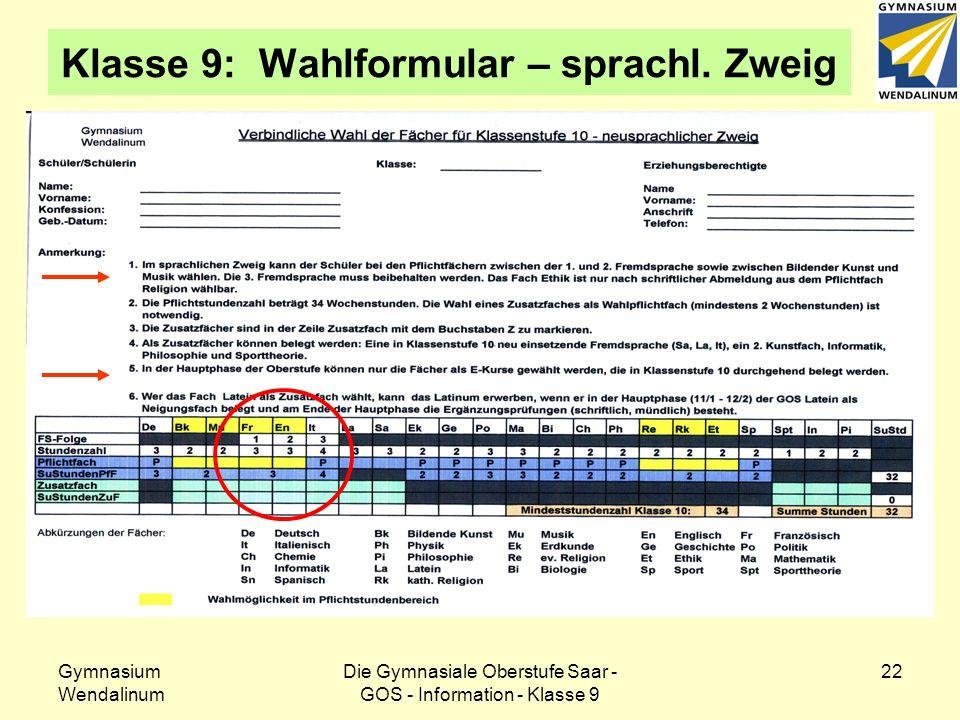 Gymnasium Wendalinum Die Gymnasiale Oberstufe Saar - GOS - Information - Klasse 9 23 Einführungsphase - Wahlbeispiele sprachlicher Zweig – Beispiel 1
