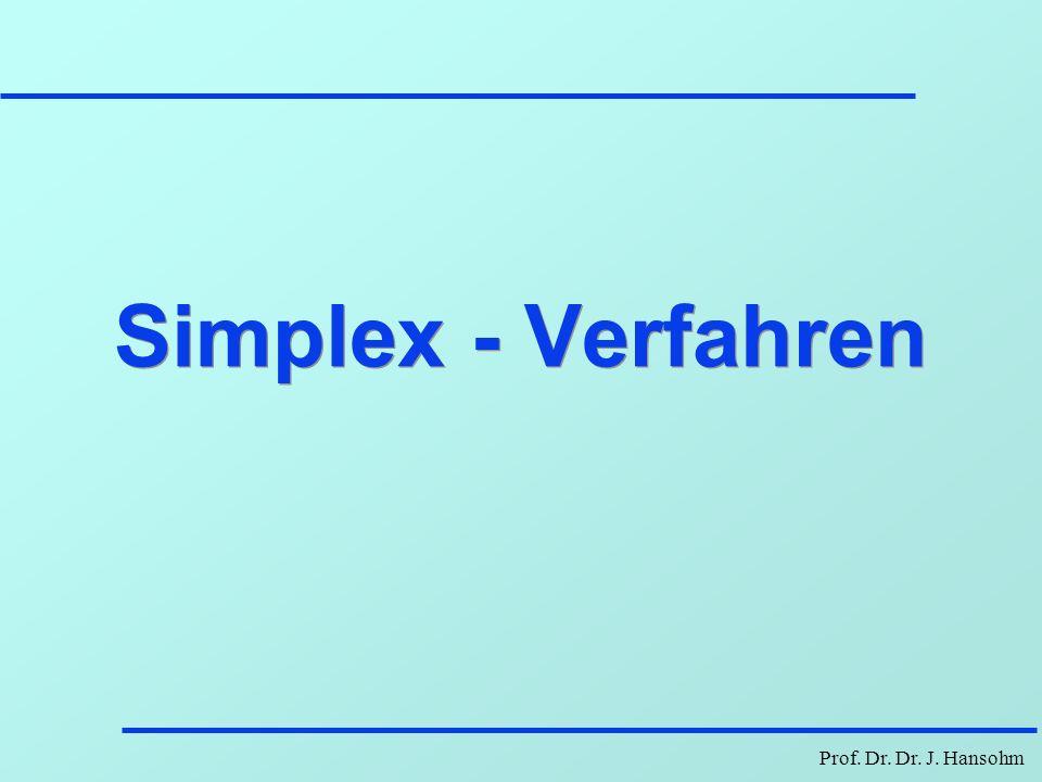 Prof. Dr. Dr. J. Hansohm Simplex - Verfahren