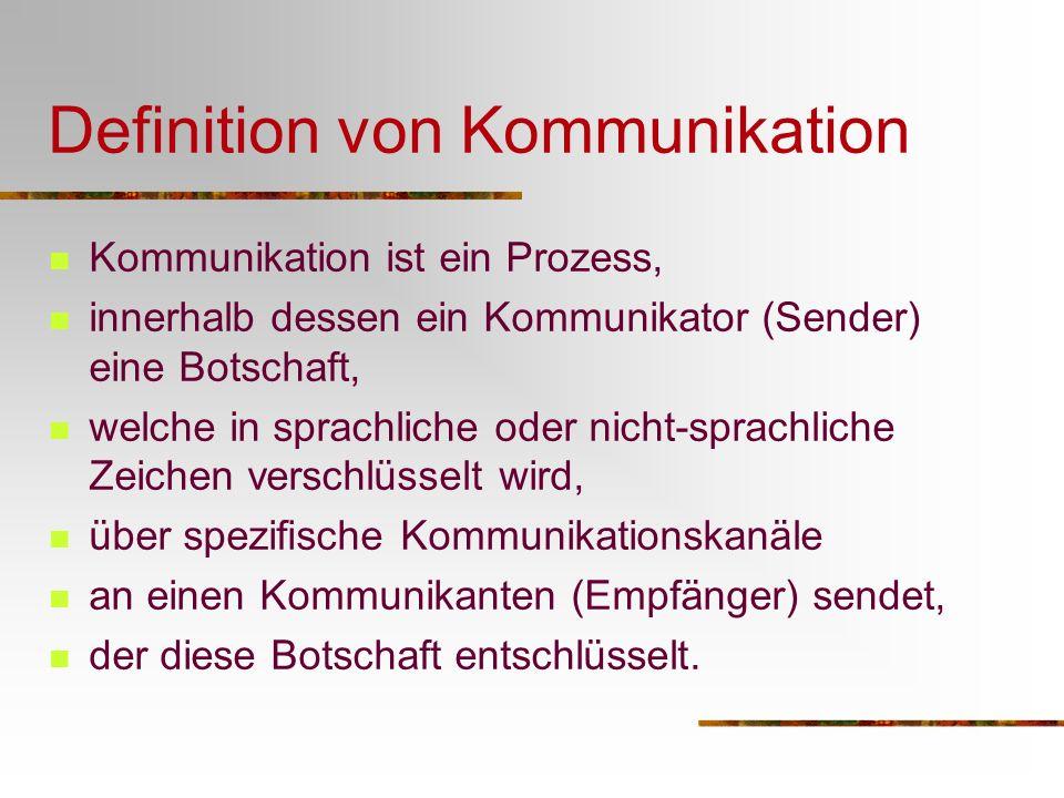 Kommunikation In jeder sozialen Interaktion wird auch kommuniziert.