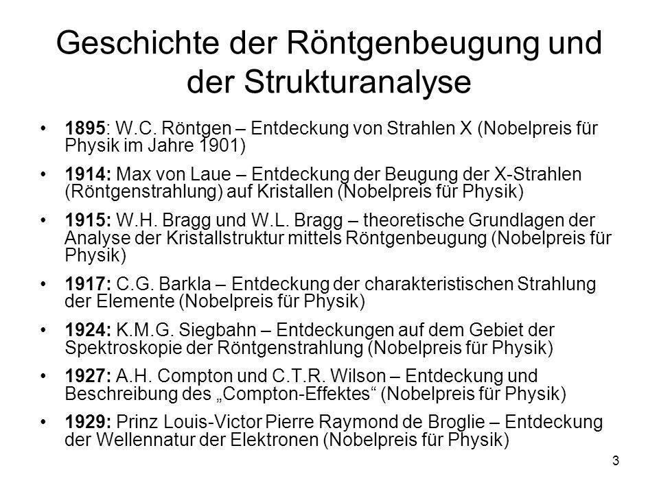 4 Geschichte der Röntgenbeugung und der Strukturanalyse 1936: P.J.W.