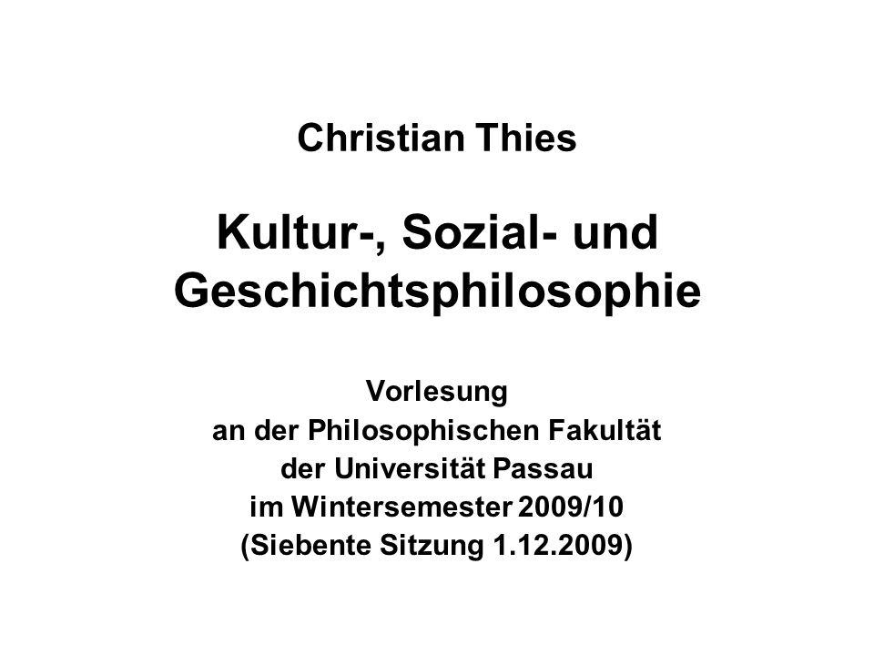 1.12.2009Christian Thies Vorlesung WS 2009/10 2 Siebter Termin (1.12.2009) (1)Wiederholung – Ergänzungen – Fragen zu Georg Wilhelm Friedrich HEGEL (2)Karl Marx (3)Ausblick auf den nächsten Termin
