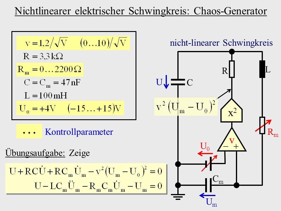 Umformulierung auf Systemgleichung: Dreidimensionales, nicht-lineares, autonomes, kontinuierliches System x2x2 v L RmRm CmCm C R U0U0 U UmUm