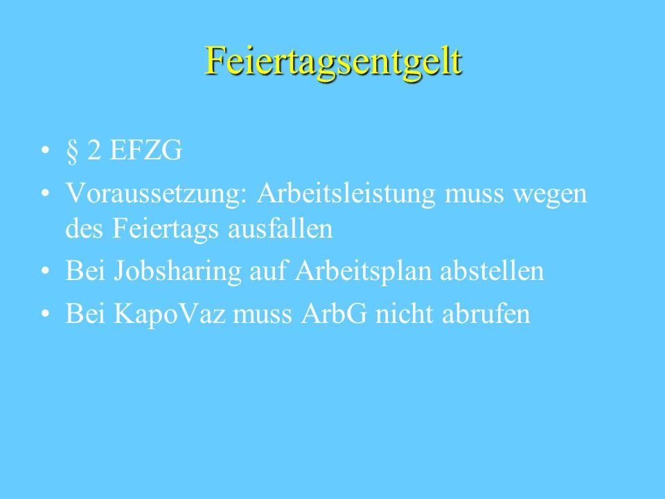 Feiertagsentgelt § 2 EFZG Voraussetzung: Arbeitsleistung muss wegen des Feiertags ausfallen Bei Jobsharing auf Arbeitsplan abstellen Bei KapoVaz muss ArbG nicht abrufen