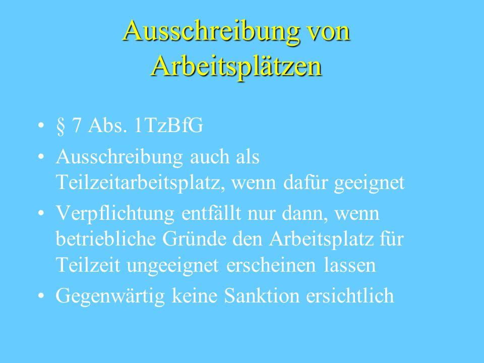 Ausschreibung von Arbeitsplätzen § 7 Abs.