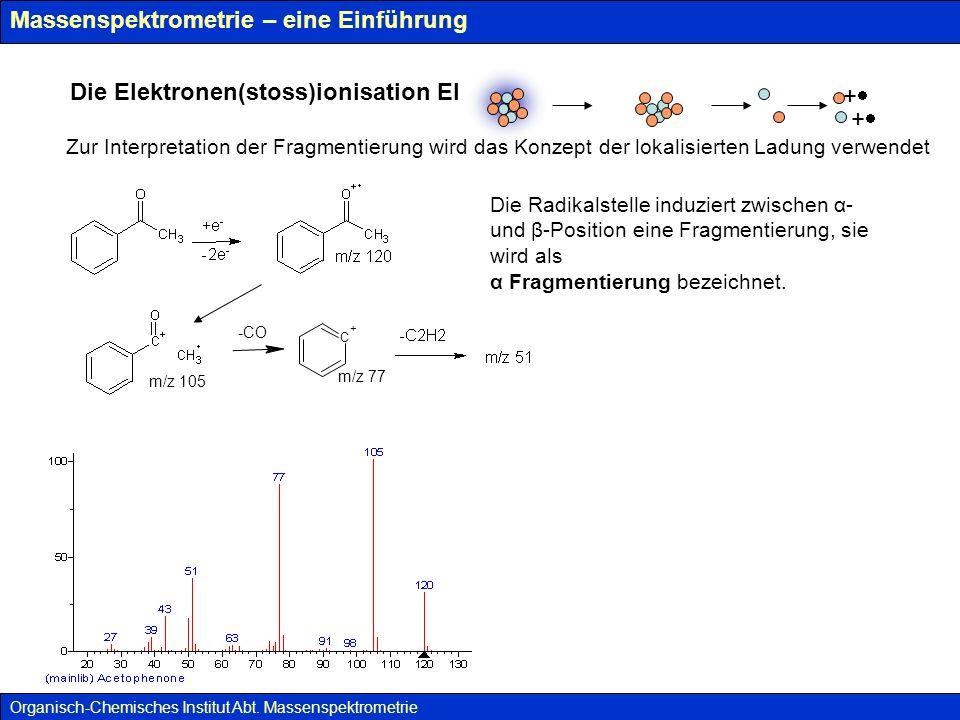 Massenspektrometrie – eine Einführung Spektrum eines aliphatischen Ketons Organisch-Chemisches Institut Abt.