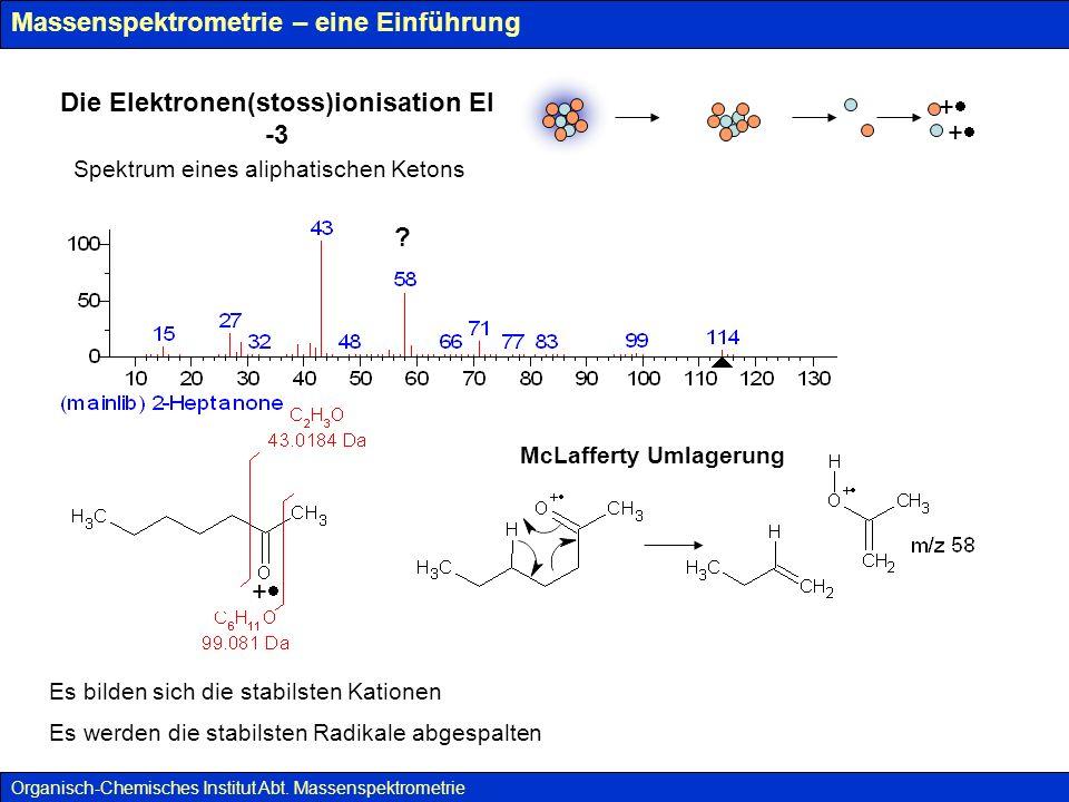 Massenspektrometrie – eine Einführung ES(I) – Elektrosprayionisation Organisch-Chemisches Institut Abt.