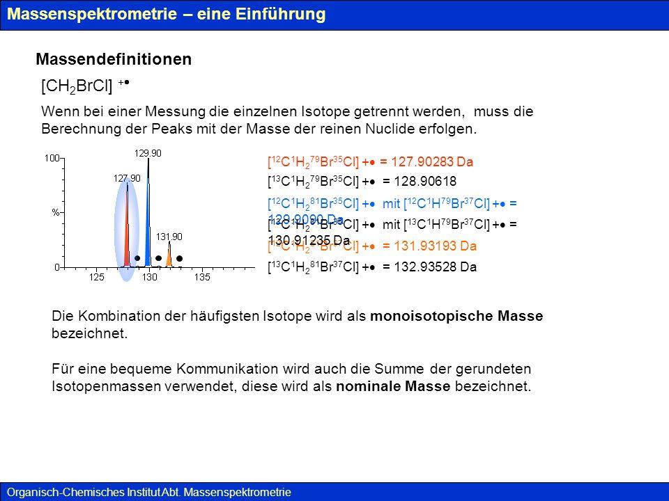 Massenspektrometrie – eine Einführung Massendefinitionen [CH 2 BrCl] + Organisch-Chemisches Institut Abt.