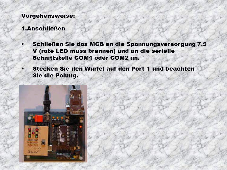 Vorgehensweise: Schließen Sie das MCB an die Spannungsversorgung 7,5 V (rote LED muss brennen) und an die serielle Schnittstelle COM1 oder COM2 an.