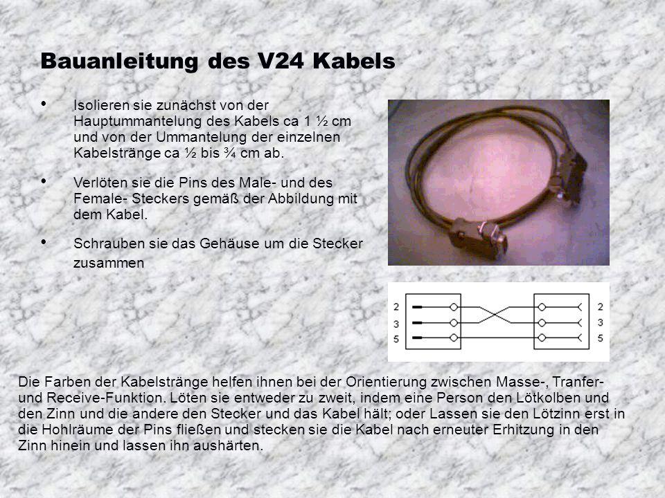 Bauanleitung des V24 Kabels Isolieren sie zunächst von der Hauptummantelung des Kabels ca 1 ½ cm und von der Ummantelung der einzelnen Kabelstränge ca ½ bis ¾ cm ab.