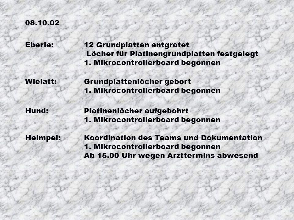 08.10.02 Eberle:12 Grundplatten entgratet Löcher für Platinengrundplatten festgelegt 1.