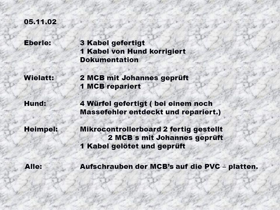 05.11.02 Eberle: 3 Kabel gefertigt 1 Kabel von Hund korrigiert Dokumentation Wielatt: 2 MCB mit Johannes geprüft 1 MCB repariert Hund: 4 Würfel gefertigt ( bei einem noch Massefehler entdeckt und repariert.) Heimpel: Mikrocontrollerboard 2 fertig gestellt 2 MCB´s mit Johannes geprüft 1 Kabel gelötet und geprüft Alle: Aufschrauben der MCBs auf die PVC – platten.