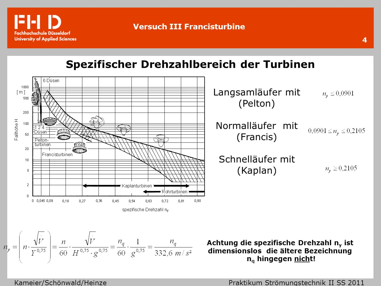 Versuch III Francisturbine Kameier/Schönwald/Heinze Praktikum Strömungstechnik II SS 2011 5 Funktionsweise der Turbinen Pelton Turbine: Ausnutzung der Bewegungsenergie des Wassers kinetisch potentiell somit Impulserhaltung Düse wird auf die Laufschaufeln gerichtet Francis Turbine: Leitgittereinstellung zur Erzeugung einer Drallkomponente innerhalb der Geschwindigkeitsdreiecke c 1u Wasserzuführung durch die Leitschaufeln in das rotierende Laufrad erfolgt radial, aber axiale Abströmung Kaplan Turbine Kaplan Turbine: Axial durchströmte Laufradform auch mit Leitradvorrichtung Euler´sche Strömungsmaschinen- hauptgleichung für Turbinen