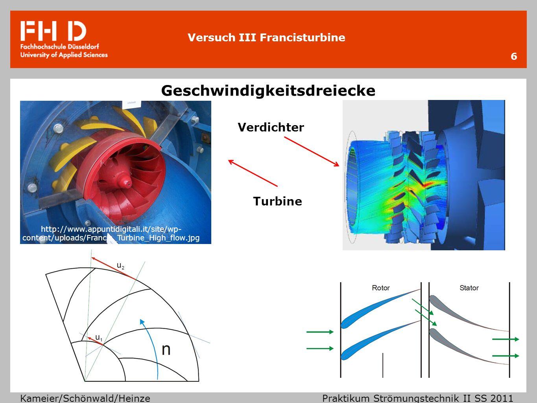 Versuch III Francisturbine Kameier/Schönwald/Heinze Praktikum Strömungstechnik II SS 2011 Geschwindigkeitsdreiecke an Stator und Rotor der Turbine 7 V C1m=W1m Eintritt Austritt c Absolutgeschwindigkeit u Umfangsgeschwindigkeit w Relativgeschwindigkeit c1u c1m Meridionalkomponente c1u Drallkomponente