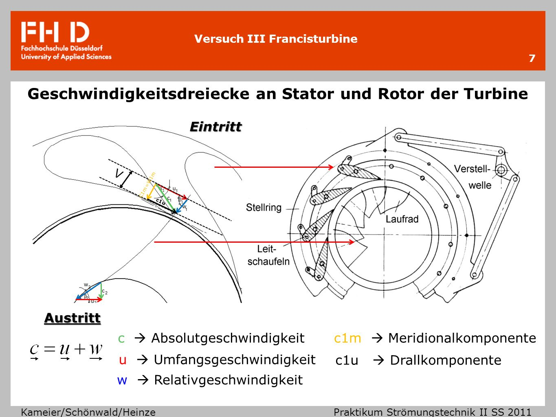 Versuch III Francisturbine Kameier/Schönwald/Heinze Praktikum Strömungstechnik II SS 2011 8 V Geschwindigkeitsdreiecke mit verändertem Leitgitterwinkel Verkleinerung des Leitgitterwinkels führt zur Verringerung des Volumenstroms.