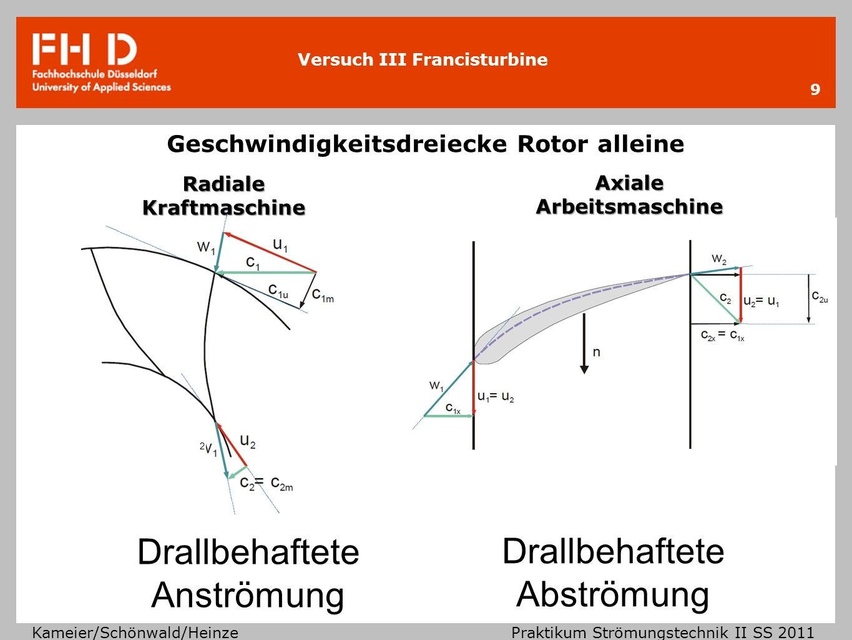 Versuch III Francisturbine Kameier/Schönwald/Heinze Praktikum Strömungstechnik II SS 2011 Angaben der Messunsicherheit für eine vereinfachte Fehlerrechnung 10