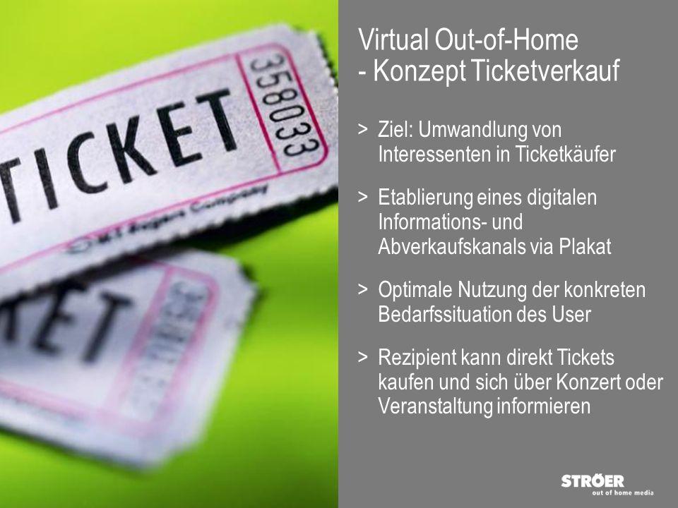 Virtual Out-of-Home - Vorteile Veranstalter > Image Positiver Imagetransfer durch Nutzung innovativer Technologien > Akzeptanz Steigerung der Wirkung von Veranstaltungsplakaten durch Kundenmehrwert > Abverkauf Unterstützung des Ticketverkaufs zusätzlichen Distributionskanal Mobile Device