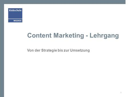 Content Marketing - Lehrgang