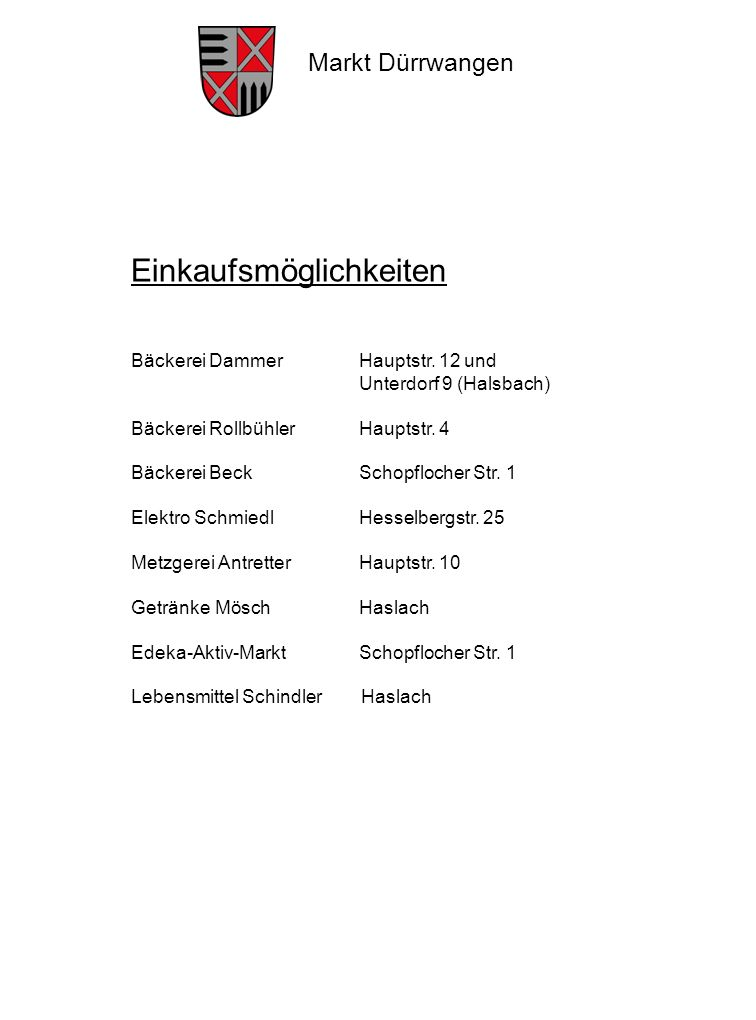 Markt Dürrwangen 1.Aqua-FreundeGerhard Wessely 2.BlaskapelleHans Beer 3.Club-FansThomas Peter 4.Dorfverein SulzachUlrich Engerer 5.FFW DürrwangenFr.