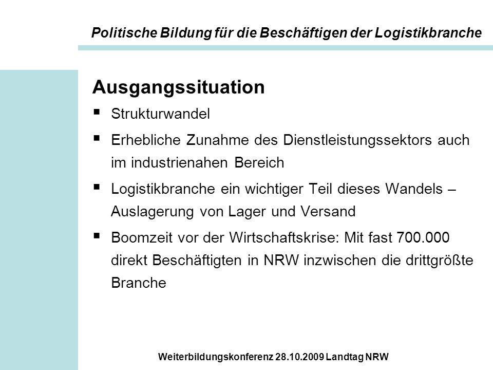Weiterbildungskonferenz 28.10.2009 Landtag NRW Problemstellung  Überdurchschnittlich viele Un- und Angelernte, hohe Fluktuation.