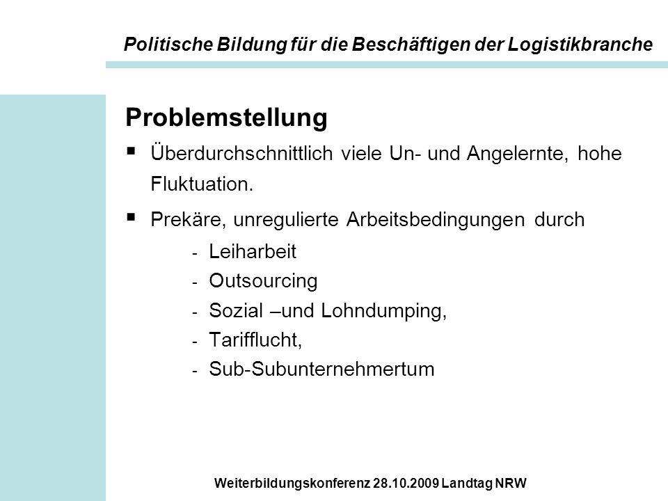 Weiterbildungskonferenz 28.10.2009 Landtag NRW Ziele der Angebote  Beschäftigte stärken und ermuntern, ihre Interessen kollektiv zu vertreten  Die Arbeitsbedingungen als gestaltbar wahrgenehmen.