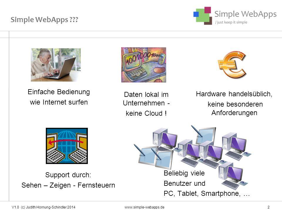 """Leitgedanke…  Sinnvoller Einsatz neuester Technik und freier Software  Einbindung aller Beteiligten (Firmen bestehen aus Mitarbeitern)  Modularität und Erweiterbarkeit  Einfachheit  Freiheit """"Das Programm (Applikation) muss einfach sein: simple """"Software ist Mittel zum Zweck, nicht Selbstzweck. V1.0 (c) Judith Hornung-Schindler 2014www.simple-webapps.de 3"""