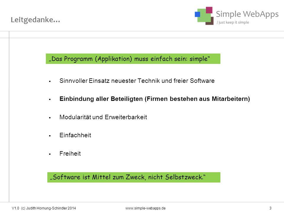 Simple Webapps Einsatzplanung Zeiterfassung (auch mit Terminal, Datev-Schnittstelle) Arbeitspläne Controlling Adressbuch Skill Management \ basis V1.0 (c) Judith Hornung-Schindler 2014www.simple-webapps.de 4