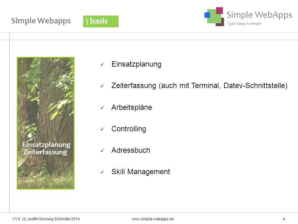 Einfache, zentrale Planung und Übersicht Einsatzplanung \ basis V1.0 (c) Judith Hornung-Schindler 2014www.simple-webapps.de 5 Mitarbeiter mit PC-Arbeitsplatz können die eigene Planung einsehen und prüfen.