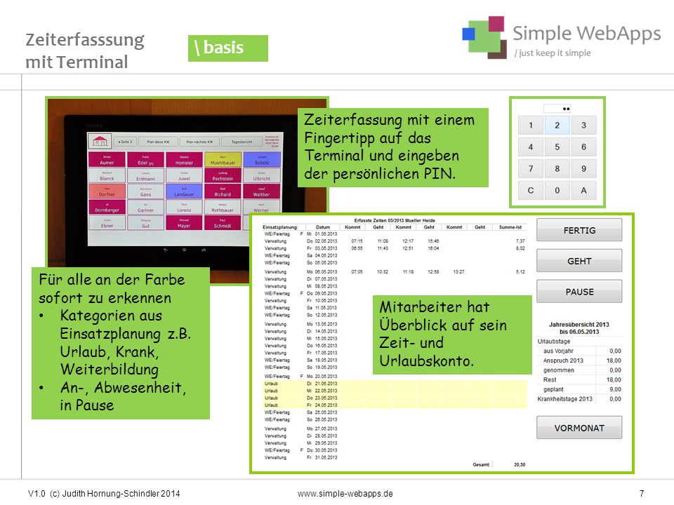 V1.0 (c) Judith Hornung-Schindler 2014 www.simple-webapps.de 8 Monatsbeleg kann dem Mitarbeiter ausgehändigt werden Monatsbeleg \ basis Datev-Schnittstelle zur Gehaltsabrechnung / Buchhaltungssoftware verfügbar