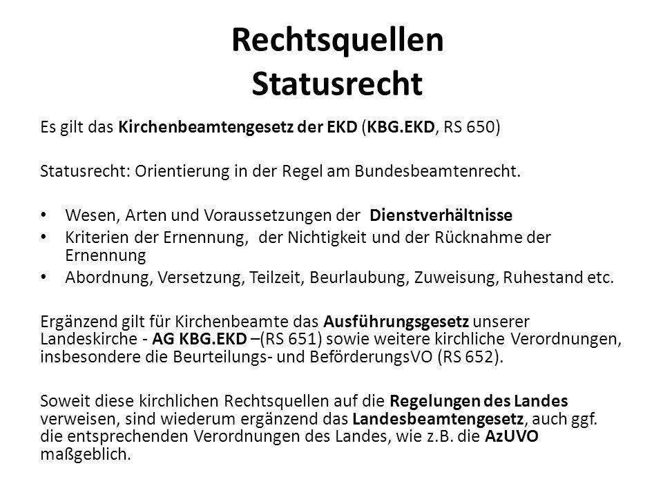 Rechtsquellen Besoldung und Versorgung Das Kirchenbeamtenbesoldungs- und –versorgungsgesetz (KBVG, RS 670) beinhaltet nur wenige eigene Regelungen.