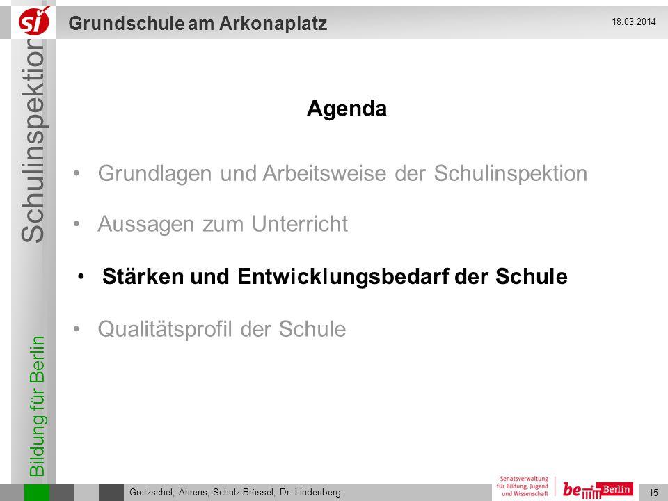 Bildung für Berlin Schulinspektion Grundschule am Arkonaplatz 16 Gretzschel, Ahrens, Schulz-Brüssel, Dr.