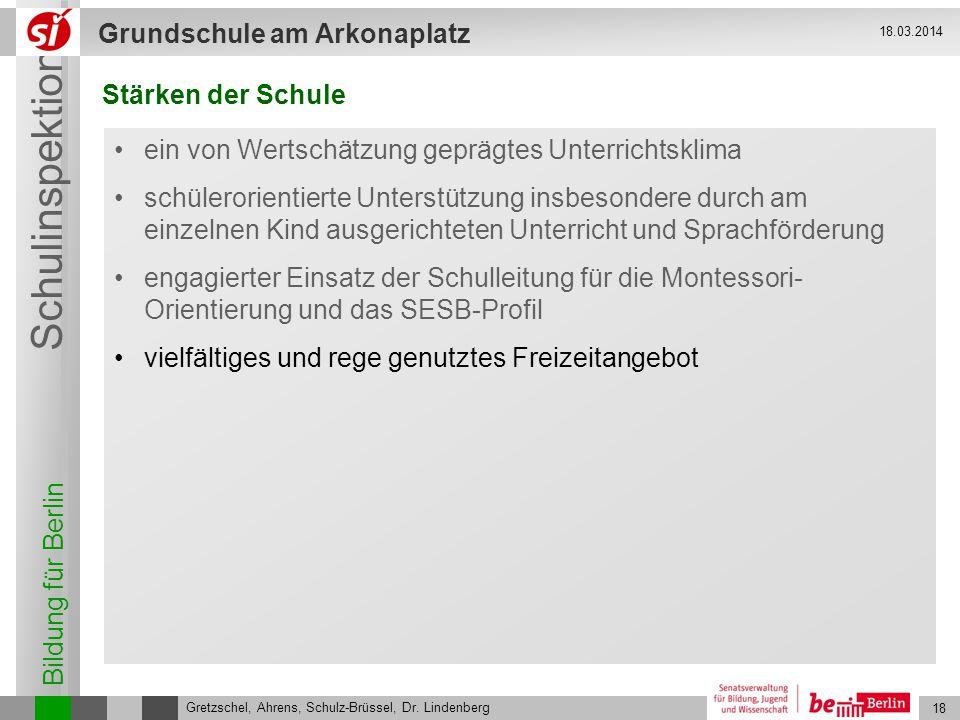 Bildung für Berlin Schulinspektion Grundschule am Arkonaplatz 19 Gretzschel, Ahrens, Schulz-Brüssel, Dr.
