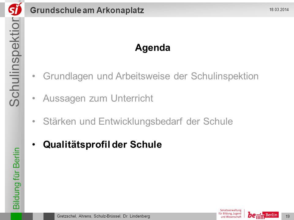 Bildung für Berlin Schulinspektion Grundschule am Arkonaplatz 20 Gretzschel, Ahrens, Schulz-Brüssel, Dr.
