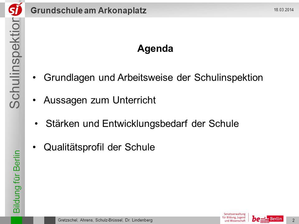 Bildung für Berlin Schulinspektion Grundschule am Arkonaplatz 3 Gretzschel, Ahrens, Schulz-Brüssel, Dr.