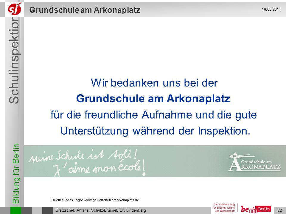 Bildung für Berlin Schulinspektion Grundschule am Arkonaplatz 23 Gretzschel, Ahrens, Schulz-Brüssel, Dr.