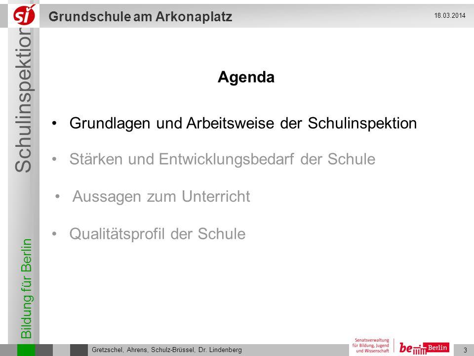 Bildung für Berlin Schulinspektion Grundschule am Arkonaplatz 4 Gretzschel, Ahrens, Schulz-Brüssel, Dr.