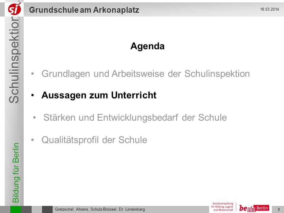 Bildung für Berlin Schulinspektion Grundschule am Arkonaplatz 10 Gretzschel, Ahrens, Schulz-Brüssel, Dr.
