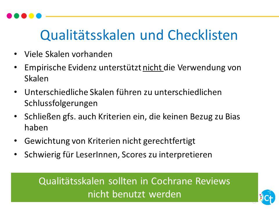 cochrane training Cochrane 'Risk of bias'- Bewertung 7 evidenz-basierte Bereiche Einschätzung der Review-AutorInnen Geringes Risiko für Bias  Hohes Risiko für Bias .