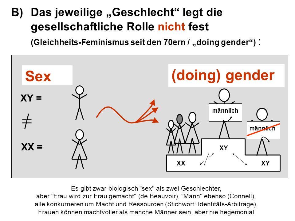 Zu B) übliche Positionierung der Medien im doing-gender-Prozess: XY = XX = XY männlich XY XX Sex (doing) gender Medien Bilder Vorbilder Medien als den (nach sex einteilbaren) Subjekten äußerliche Mittler-Instanz