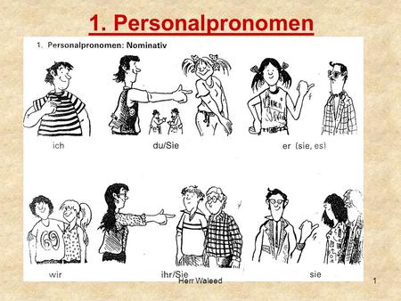 "1. Personalpronomen 1Herr Waleed. ich du er sie es wir ihr sie Sie ""I"" ""you"" informal singular (addressing a friend, child or relative) the pronoun for."