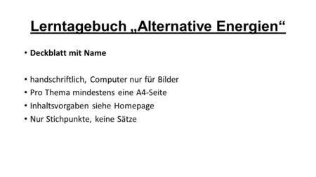 "Lerntagebuch ""Alternative Energien"""