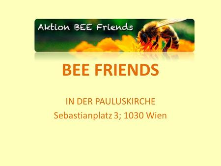 BEE FRIENDS IN DER PAULUSKIRCHE Sebastianplatz 3; 1030 Wien.