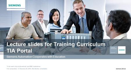 Lecture slides for Training Curriculum TIA Portal