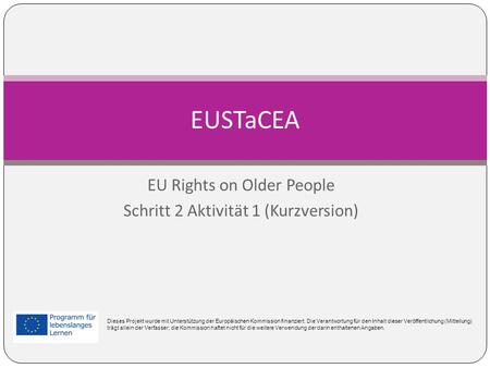 EU Rights on Older People Schritt 2 Aktivität 1 (Kurzversion)