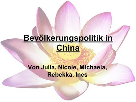 Bevölkerungspolitik in China Von Julia, Nicole, Michaela, Rebekka, Ines.
