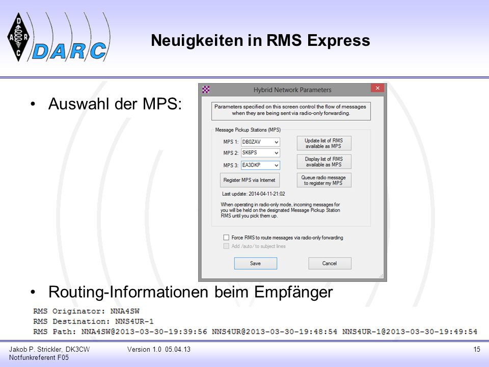 Message Forwarding Wenn direkte Verbindung zur MPS nicht möglich, erfolgt Weiterleitung über mehrere RMS Beste Route wird durch jede RMS auf Basis der Ausbreitungsvorhersage, Tageszeit, PACTOR Level, Nachrichten-Größe weitergeleitet.