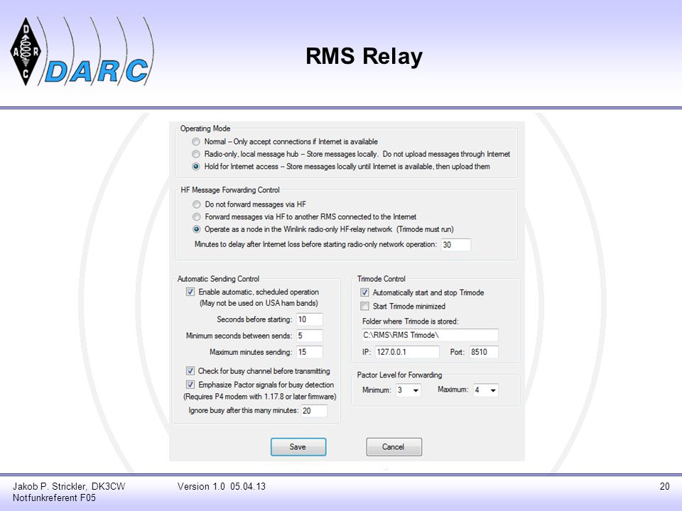 RMS Relay Netzwerk Kontrolle Jakob P. Strickler, DK3CW Notfunkreferent F05 Version 1.0 05.04.1321