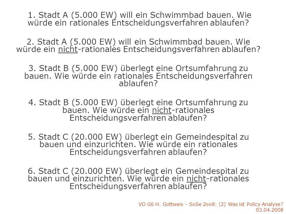 VO G6 H. Gottweis - SoSe 2oo8: (2) Was ist Policy Analyse? 03.04.2008 IV. Ein Überblick